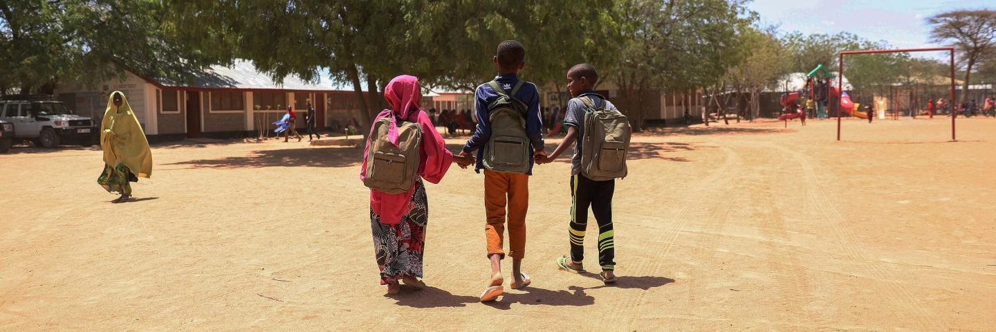 Children coming to school where Save the children supports in Daadab