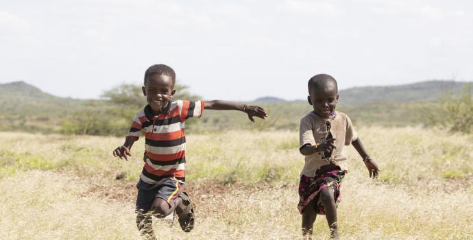Children run and play
