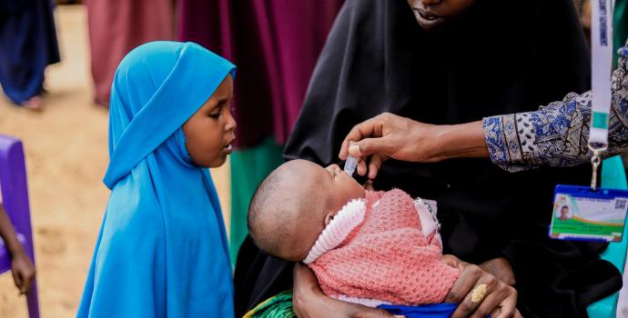 A child being immunised at Dikoba outreach centre in Mandera