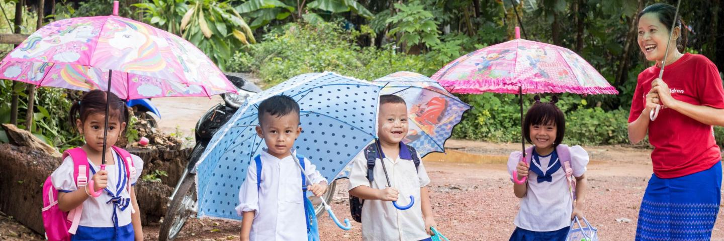 Staff and children going to school - Myanmar