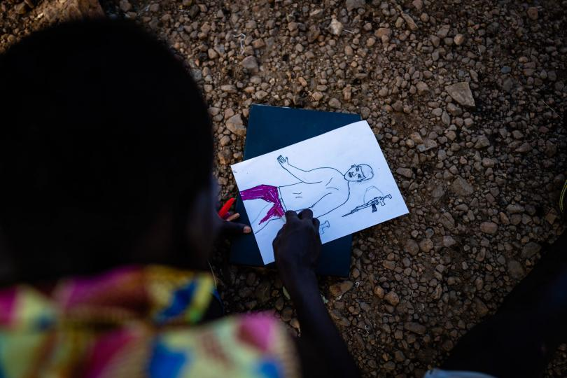 Peter loves to draw. Louis Leeson / Save the Children