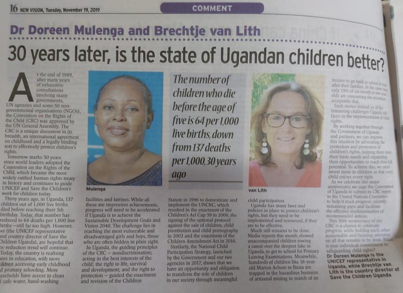 A joint op-ed by Save the Children and UNICEF published in the New Vision