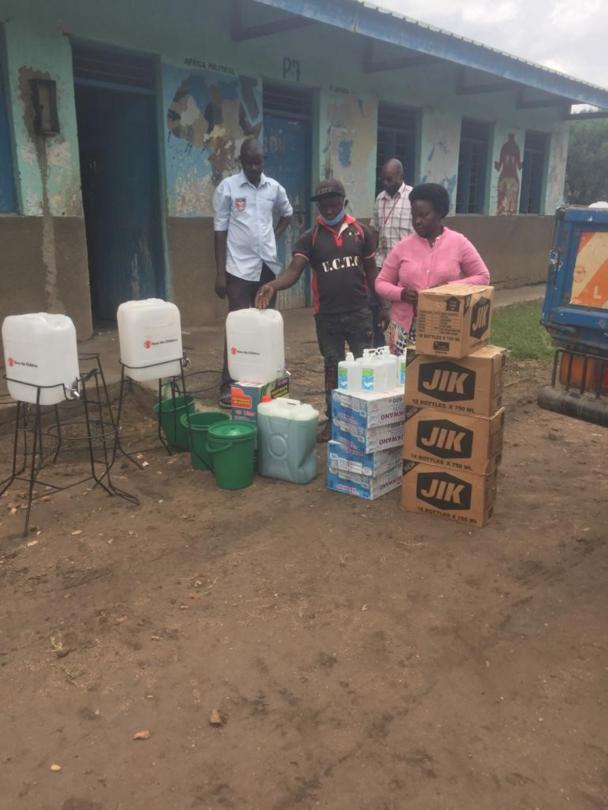 As part of the support towards schools reopening, Save the Children delivered WASH materials including soap, Jik, temperature guns, handwashing facilities to 50 schools in western Uganda as a way of supporting schools to observe standard operating procedures. Some of these schools were hit and destroyed by floods which occurred in August.