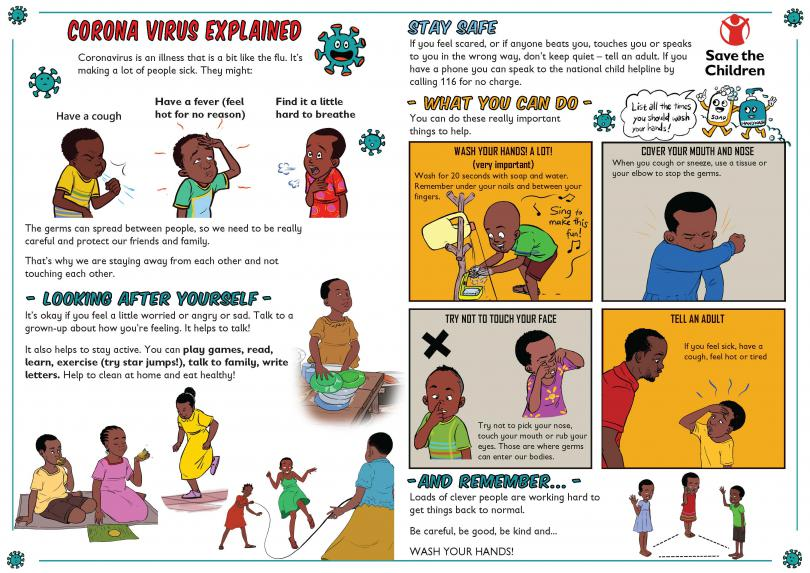 llustrated comic strip being distributed to children in Uganda