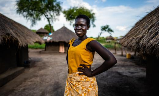 Harriet at her home in northern Uganda. Louis Leeson / Save the Children