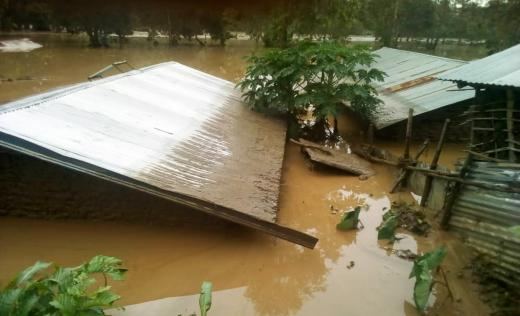 Homes submerged by floods in Kasese, western Uganda