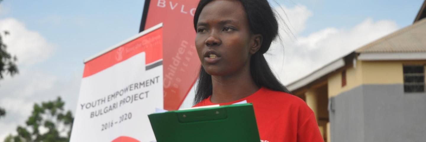 Youth advocate Anena Cynthia Marion delivers a speech against child marriage to local cultural leaders