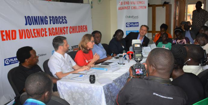 Launching the new Joining Forces initiative at Save the Children's office in Kampala. Alun McDonald / Save the Children
