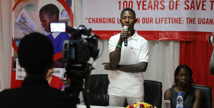 Davis, a youth champion from Wakiso, speaks about access to sexual and reproductive health. Alun McDonald / Save the Children