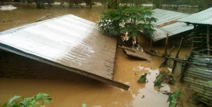 Homes submerged by floods in Kasese, western Uganda
