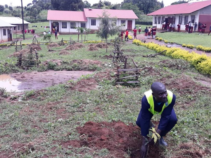 Planting trees in Kyaka refugee settlement