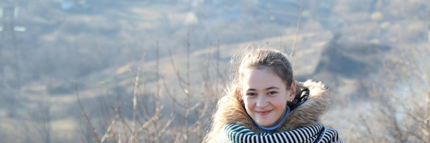 Sophia, 13 years old, a member of the Schools Safety Committee in Toshkivka, eastern Ukraine.