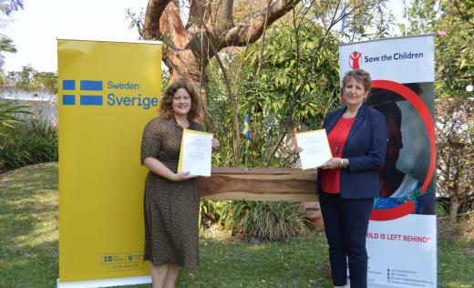 Head of Development Cooperation at the Zambian Embassy in Sweden - Ms Susanna Hughes (left) and the Save the Children Country Director in Zambia - Mrs Jo Musonda